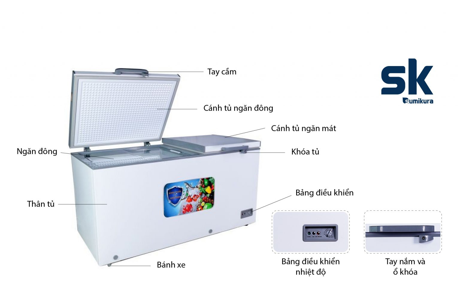 tủ đông - mát SUMIKURA 350D